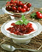 Yoghurt dessert with cherry compote