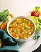 Vegetable broth with noodles, various soup vegetables beside it