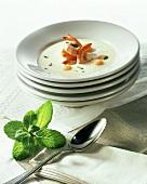 Cold melon cream with shrimps (Majorca)
