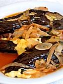 Melitzanes me tiri (aubergines with onions and cheese, Crete)