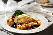 Cod in Mediterranean vegetable stock, with broccoli