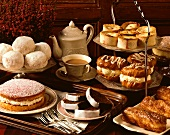 Assorted cakes and biscuits for coffee buffet