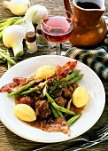 Mutton ragout, Rhineland style, with beans & boiled potatoes