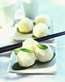 Sticky rice balls with mint