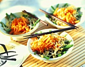 Vegetable salad with green beans, carrots, sprouts and sesame