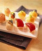 Platter of small nigiri-sushi