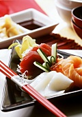 Sashimi with cuttlefish, salmon and tuna