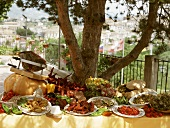 Buffet in open air with specialities from Calabria (Italy)