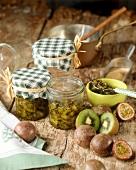 Kiwi fruit and passion fruit preserve