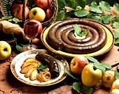 Boudin noir (black pudding) with apples (France)