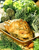 French farm chicken with fresh herbs