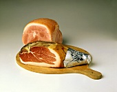 Air-dried ham, cooked ham behind