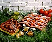 Chipolatas and Merguez sausages on the barbecue