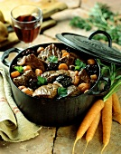 Braised beef stew with prunes and carrots from Provence