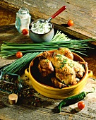 Roast chicken with chive cream