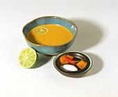 Asian marinade: coconut milk, turmeric, chili, lime