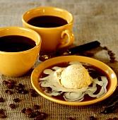 Vanilla ice cream on coffee sauce