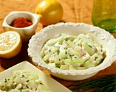 Cucumber salad with chive cream
