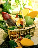 Fruit ice cream and fresh fruit in a basket