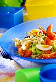 Spring vegetable salad (tomatoes, cauliflower, cucumber & egg)