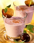 Plum drink with concentrated pear juice, kefir and cinnamon