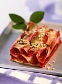 Stück Zwetschgen-Lasagne