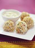 Tuna and pea balls with dip