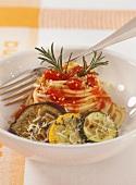 Spaghetti alla mamma Piera (spaghetti with grilled vegetables)