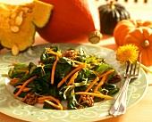 Corn salad with walnuts & strips of pumpkin (pumpkin dish)