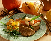 Beef with pumpkin ragout and root vegetables (pumpkin dish)