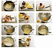 Making zabaglione cream with fruit
