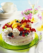 Meringues with raspberry cream and fresh fruit