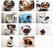 Making mocha chocolate mousse with cherries