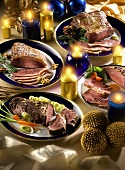 Roast meat for Christmas on plates (various types, Brazil)