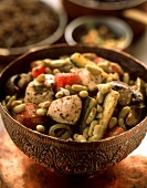 Tajine with vegetables, beans and chicken