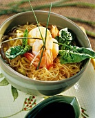 Chinese noodle soup with shrimps