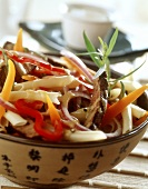 Noodle and vegetable salad with roast beef