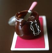 Chocolate cream in a preserving jar