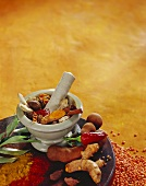 Spice still life with turmeric, cinnamon and cardamom in mortar