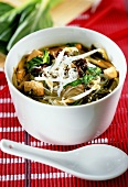 Glass noodle soup with tofu, Chinese cabbage and mushrooms