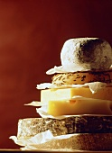 A pile of pieces of different cheeses
