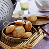 Sweet deep-fried oil cakes with sesame (Sichuan, China)