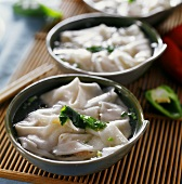 Long chao shou (pasta parcels in soup, Sichuan, China)
