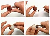 Preparing a lychee