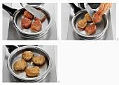 Frying pork medallions