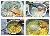 Making saffron risotto