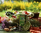 Still life with herbs and vegetables