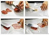 Cutting beef fillet into thin slices and flattening them