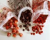 Frozen strawberries, raspberries and raspberries