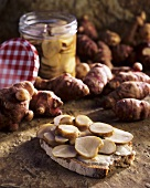 Preserved Jerusalem artichoke on bread